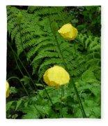 Raindrops On Yellow And Green Fleece Blanket