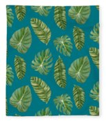 Rainforest Resort - Tropical Leaves Elephant's Ear Philodendron Banana Leaf Fleece Blanket