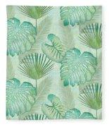 Rainforest Tropical - Elephant Ear And Fan Palm Leaves Repeat Pattern Fleece Blanket