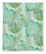 Rainforest Tropical - Elephant Ear And Fan Palm Leaves Repeat Pattern Fleece Blanket