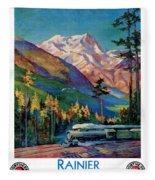 Rainier National Park Vintage Poster Restored Fleece Blanket