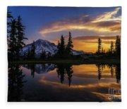 Rainier Sunrise Reflection #2 Fleece Blanket