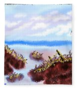 Rainy Beach Scene Fleece Blanket