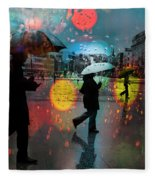 Rainy City Scene Fleece Blanket