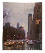Rainy City Street Fleece Blanket