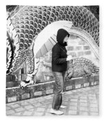 Rainy Day At The Wat Phra That Temple Fleece Blanket
