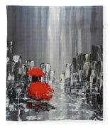 Rainy Day City Girl In Red Fleece Blanket