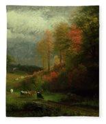 Rainy Day In Autumn Fleece Blanket