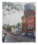 Rainy Day In Downtown Brampton On Fleece Blanket