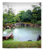 Rainy Day In Kyoto Palace Garden Fleece Blanket