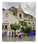 Rainy Day In Taormina 2 Fleece Blanket