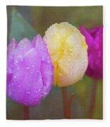 Rainy Day Tulips Fleece Blanket