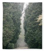 Rainy Gloomy Alley In Park Fleece Blanket