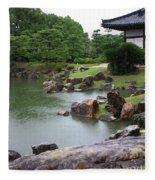 Rainy Japanese Garden Pond Fleece Blanket