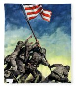 Raising The Flag On Iwo Jima Fleece Blanket