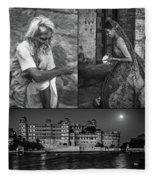 Rajasthan Collage Bw Fleece Blanket