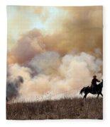 Rancher Starting A Controlled Burn Fleece Blanket