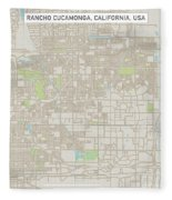 Rancho Cucamonga California Us City Street Map Fleece Blanket