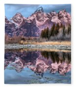 Grand Teton Snow Capped Reflections Fleece Blanket