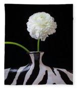 Ranunculus In Black And Whie Vase Fleece Blanket