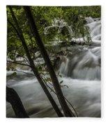 Rapids In Forest  Fleece Blanket