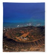 Rare Aerial View Of Extinct Volcanic Crater In Hawaii.  Fleece Blanket