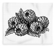 Raspberries Image Fleece Blanket