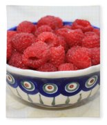 Raspberries In Polish Pottery Bowl  Fleece Blanket