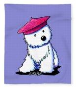 Raspberry Beret Westie Fleece Blanket