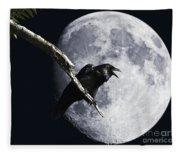 Raven Barking At The Moon Fleece Blanket