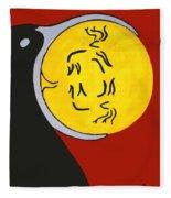 Raven Elk Moon  -013 Fleece Blanket