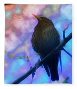 Raven In Spring Fleece Blanket