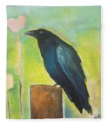 Raven In The Garden Fleece Blanket