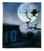 Raven Landing On Branch In Moonlight Fleece Blanket