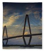 Ravenel Bridge Sunset Fleece Blanket