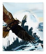 Ravens And The Stormy Sea Fleece Blanket