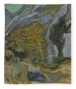 Ravine With A Small Stream Saint Remyde Provence  October 1889 Vincent Van Gogh 1853  1890 Fleece Blanket