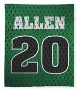 Ray Allen Boston Celtics Retro Vintage Jersey Closeup Graphic Design Fleece Blanket
