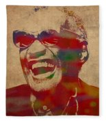 Ray Charles Watercolor Portrait On Worn Distressed Canvas Fleece Blanket