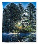 Rays Of Light On The Androscoggin River Fleece Blanket