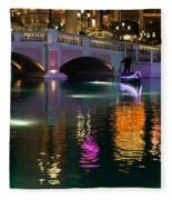 Razzle Dazzle - Colorful Neon Lights Up Canals And Gondolas At The Venetian Las Vegas Fleece Blanket