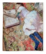 Reader Lying Down Fleece Blanket