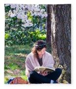 Reading Beneath The Cherry Blossoms Fleece Blanket