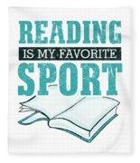 Reading Is My Favorite Sport Light Blue Fleece Blanket