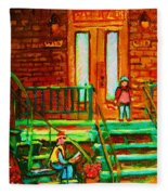 Reading On The Steps Fleece Blanket