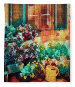 Ready To Water The Garden Oil Painting Fleece Blanket