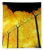 Realistic Fiery Explosion Behind Restricted Area Barbed Wire Fence Fleece Blanket