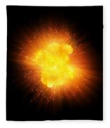 Realistic Fire Explosion, Orange Color With Sparks Isolated On Black Background Fleece Blanket