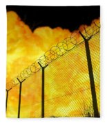 Realistic Orange Fire Explosion Behind Restricted Area Barbed Wire Fence, Blurred Background Fleece Blanket