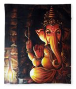 Portrait Of Lord Ganapathy Ganesha Fleece Blanket